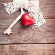 Stock Photo: Old key and heart