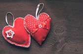 Handmade red hearts — Stock Photo