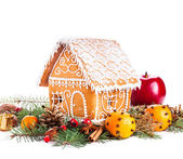 Gingerbread house and decor — Stock Photo