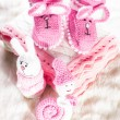 Knitted baby booties — Stock Photo #35346311