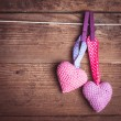 Stock Photo: Crochet lovely hearts