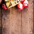 Gift box and bouquet of roses — Stock Photo