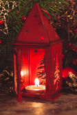 Red christmas candlestick — Stock Photo