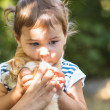 Girl play with kitten — Stock Photo