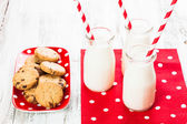 Milk in bottles — Stock Photo