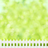 Green grass and fence — Stock Photo