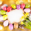 Easter eggs and card — Stock Photo
