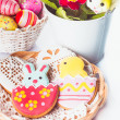 Stock Photo: Easter cookies and decorative eggs