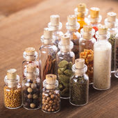 Bottles with spices — Stock Photo