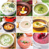 Soup collage — Stock Photo