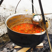 Goulash in cauldron — Stock fotografie