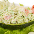 Crab meat salad with green caviar in avocado - japan cusine — ストック写真