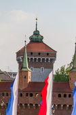 A gate to Krakow - the best preserved barbican in Europe, Poland — Stock Photo