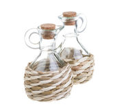 Straw-rapped bottle isolated on white — 图库照片