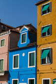 The row of colorful houses in Burano street, Italy. — Stock Photo