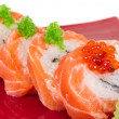 Japanese sushi traditional japanese food.Roll made of salmon, re — Zdjęcie stockowe