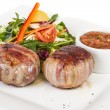 Grilled steak wrapped in bacon, with grilled vegetables, mashed - ストック写真