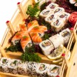 Set of sushi and rolls — 图库照片