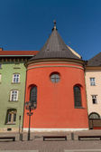 Buildings on small square in old town of Krakow — Stock Photo