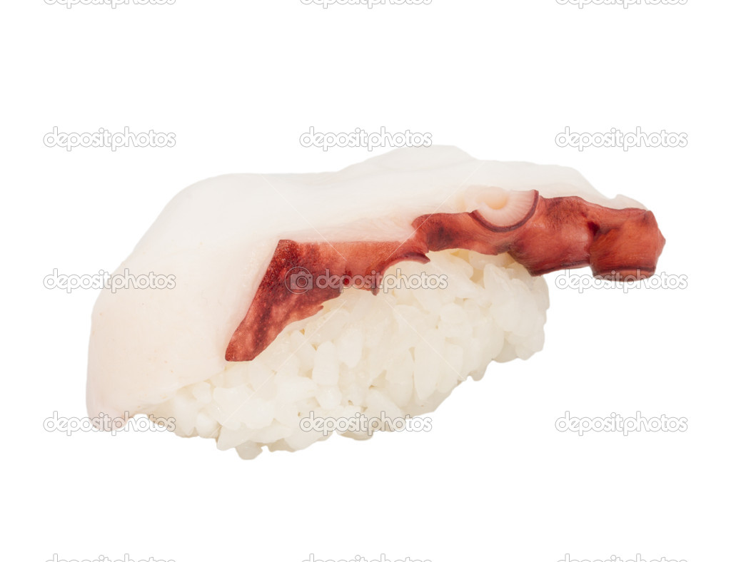 Japanese sushi with meat octopus on a white background — Stock Photo #13648027