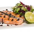 Stock Photo: Savory fish portion : roasted norwegisalmon fillet garnished