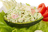 Crab meat salad with green caviar in avocado - japan cusine — Stock Photo