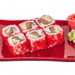 Tobiko Spicy Maki Sushi - Hot Roll with various type of Tobiko ( — Stock Photo #15487097