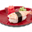 Shrimp sushi closeup isolated on white background - Stock Photo