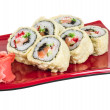 Japanese Cuisine -Tempura Maki Sushi (Deep Fried Roll made of sa — Stock Photo #15509991