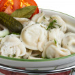 Bowl with traditional russian dish - pelmeni — ストック写真