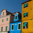 The row of colorful houses in Burano street, Italy. — 图库照片