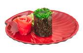 Japanese fresh maki sushi with green seaweed Chuka — Stock Photo
