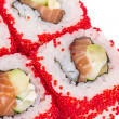 Stock Photo: Tobiko Spicy Maki Sushi - Hot Roll with various type of Tobiko (