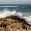 Waves crashing over Portuguese Coast - Stock Photo