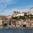 :View of Porto city at the riverbank (Ribeira quarter) - Stock Photo