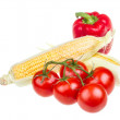 Stock Photo: Pepper, ripe yellow corn and tomato