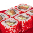 Tobiko Spicy Maki Sushi - Hot Roll with various type of Tobiko ( — Stock Photo