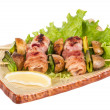 Stockfoto: Bacon wrapped grilled Scallops with mushrooms and bacon