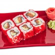 Tobiko Spicy Maki Sushi - Hot Roll with various type of Tobiko ( — Stock Photo #15574901