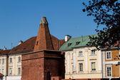 Sights of Poland. Warsaw Old Town with Renaissance Barbican — Stock Photo