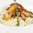 Stock Photo: Photo of delicious risotto dish with herbs and mushrooms on whit
