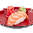 Stock Photo: studio shoot of japanese sushi vaki with salmon on white backgro