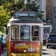 Traditional yellow and red tram — Stock Photo #15585283