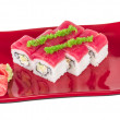 Maki Sushi - Roll made of Crab, avocado, cucumber inside. Fresh - Stock Photo