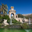 Royalty-Free Stock Photo: Barcelona ciudadela park lake fountain with golden quadriga of Aurora