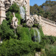 Barcelona ciudadela park lake fountain with golden quadriga of A — 图库照片