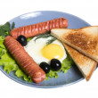 Breakfast with sausages, toast and egg - Stock Photo