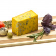 Yellow cheese with blue mold — Stock Photo