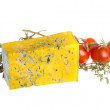 Stock Photo: Slice of Roquefort cheese with tomato and herbs