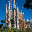 BARCELONA SPAIN - OCTOBER 28: La Sagrada Familia - the impressive cathedral designed by Gaudi - 图库照片